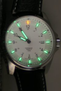Swiss Military Watch Commander model with tritium-illuminated face